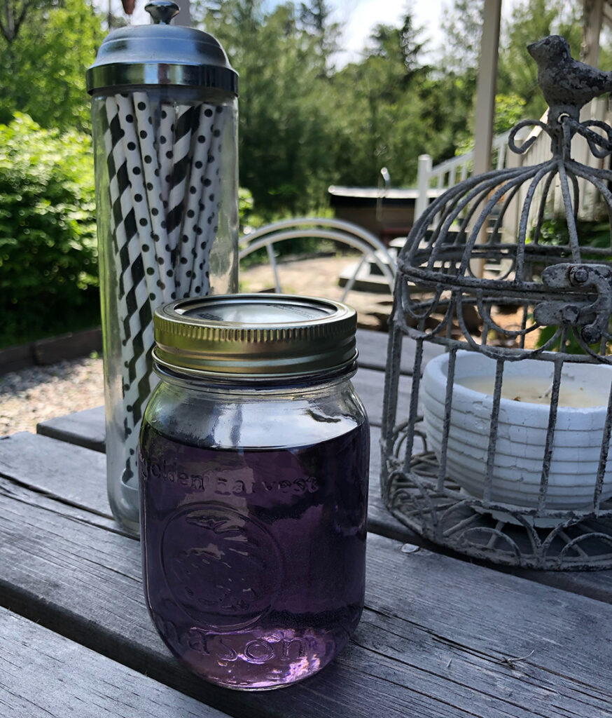 Jar of Lilac Simple Syrup.